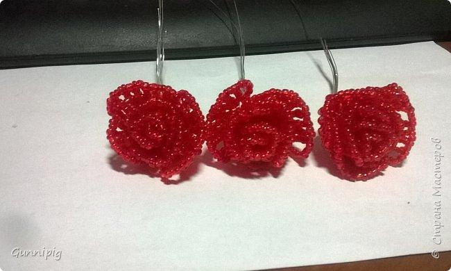Вот такая красная плетистая розочка у меня получилась. Решила также выложить пошаговый процесс ее создания, мало ли, кому пригодится) фото 13