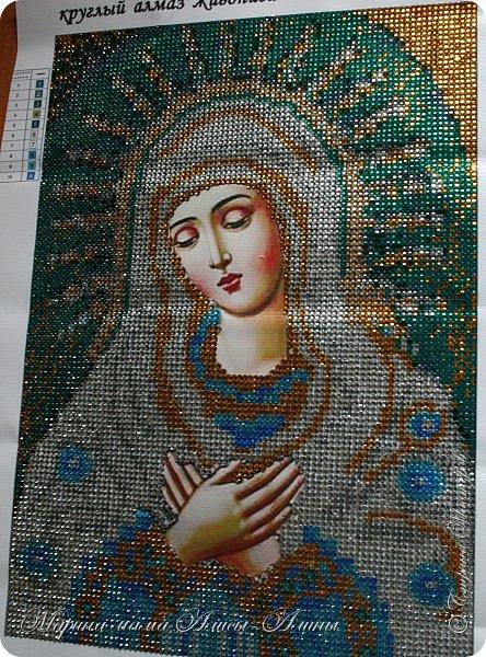 Первая моя работа-икона божьей матери.Очень понравилось делать!Стразики блестящие ,очень красиво переливаются. фото 1