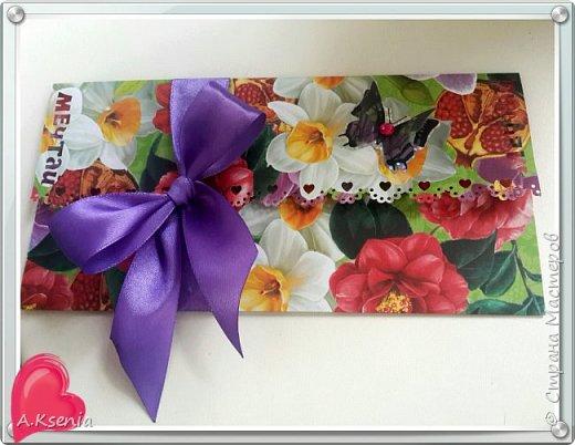 Сделала на заказ два подарочных конверта для денежных средств девушке в честь дня рождения. Один получился горизонтальный, другой - вертикальный. Этот получился очень ярким и летним!) фото 1
