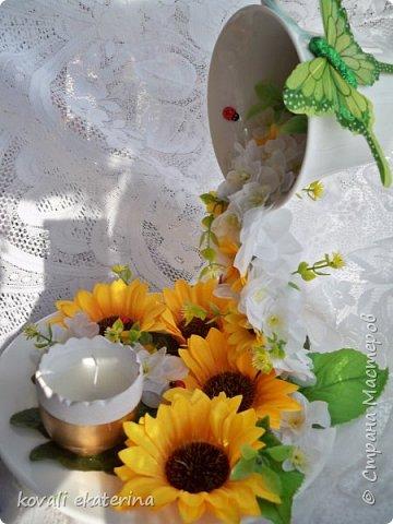 Здравствуйте друзья!Недавно заказали летнюю интерьерную композицию, вот и появился повод попробовать сделать парящую чашу. фото 6