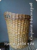 Для плетения брала газетную кромку 7,5 см. Спица 1,5 мм. Окрашена- вм лиственница+грунтовка, лак для бань и саун. фото 1