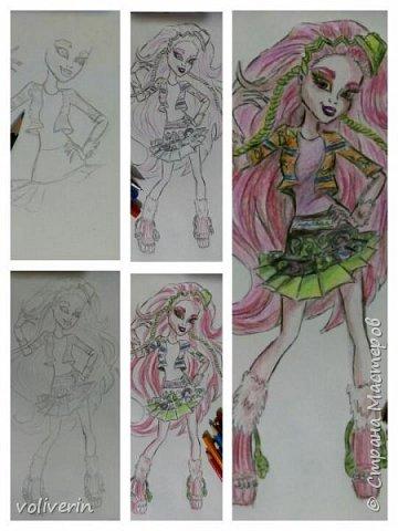 """""""Куколы Монстер Хай (Monster High) нарисованных ручками и цветными карандашами часть два"""" Продолжаю рисовать монстряшек, получаться стало лучше, чем в начале, но ещё есть к чему стремиться. фото 34"""