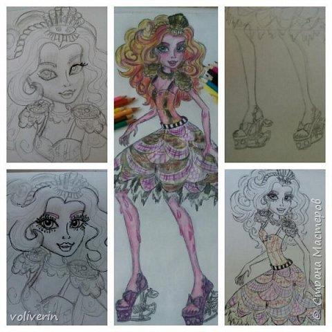 """""""Куколы Монстер Хай (Monster High) нарисованных ручками и цветными карандашами часть два"""" Продолжаю рисовать монстряшек, получаться стало лучше, чем в начале, но ещё есть к чему стремиться. фото 24"""