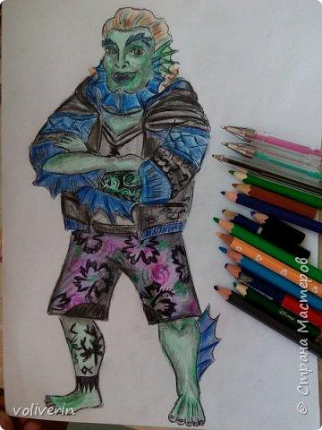 """""""Куколы Монстер Хай (Monster High) нарисованных ручками и цветными карандашами часть два"""" Продолжаю рисовать монстряшек, получаться стало лучше, чем в начале, но ещё есть к чему стремиться. фото 31"""