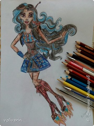"""""""Куколы Монстер Хай (Monster High) нарисованных ручками и цветными карандашами часть два"""" Продолжаю рисовать монстряшек, получаться стало лучше, чем в начале, но ещё есть к чему стремиться. фото 21"""