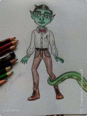 """""""Куколы Монстер Хай (Monster High) нарисованных ручками и цветными карандашами часть два"""" Продолжаю рисовать монстряшек, получаться стало лучше, чем в начале, но ещё есть к чему стремиться. фото 7"""