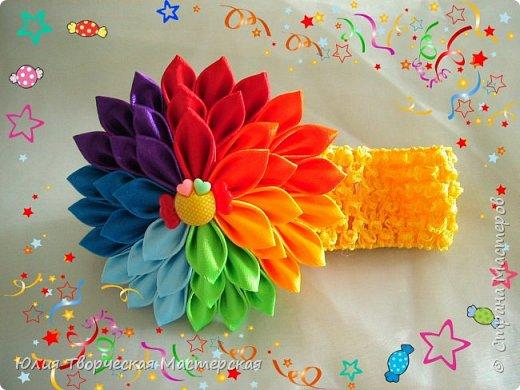 Радужная повязка канзаши/Rainbow headband/Tutorial