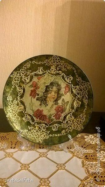 Обратный декупаж,роспись по лицевой части тарелки фото 1