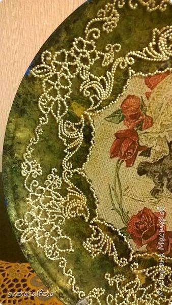 Обратный декупаж,роспись по лицевой части тарелки фото 3