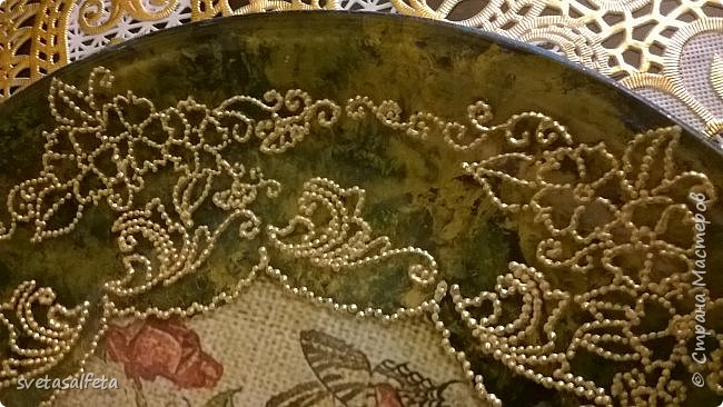 Обратный декупаж,роспись по лицевой части тарелки фото 4
