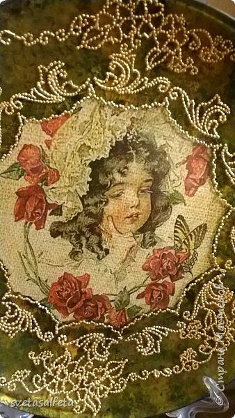 Обратный декупаж,роспись по лицевой части тарелки фото 2