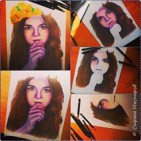 девушка цветными карандашами. фото 1