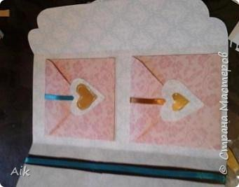 Мой первый конвертик изготовленный для подарка ко дню бракосочетания. цвет лент в тонах цветовой гаммы  на свадьбе (по крайней мере очень близко к оригинальной).  фото 5