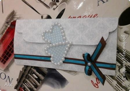 Мой первый конвертик изготовленный для подарка ко дню бракосочетания. цвет лент в тонах цветовой гаммы  на свадьбе (по крайней мере очень близко к оригинальной).  фото 1