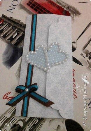 Мой первый конвертик изготовленный для подарка ко дню бракосочетания. цвет лент в тонах цветовой гаммы  на свадьбе (по крайней мере очень близко к оригинальной).  фото 2