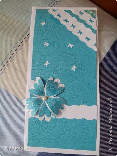Здраствуйте! Сегодня я сделала открытку, много украшать не хотела сделала немного. фото 2