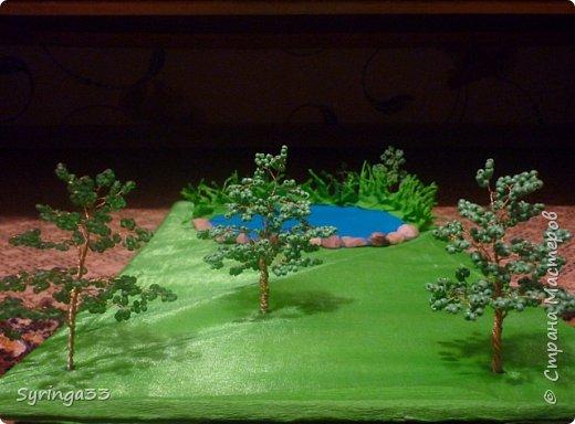 Добрый день. Для одной замечательной девочки на день рождения я сделала настольную игровую площадку (макет) в виде пруда и леса. Между деревьями и прудом оставила место для того, чтобы ребенок сам придумал, что здесь будет располагаться:дом, колодец или здесь будут гулять зверюшки. Простор для детского творчества. Основа площадки (размер примерно 50 на 30 см) кусок фанеры, обтянутой бумагой и зеленой органзой фото 1