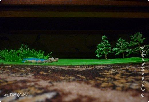 Добрый день. Для одной замечательной девочки на день рождения я сделала настольную игровую площадку (макет) в виде пруда и леса. Между деревьями и прудом оставила место для того, чтобы ребенок сам придумал, что здесь будет располагаться:дом, колодец или здесь будут гулять зверюшки. Простор для детского творчества. Основа площадки (размер примерно 50 на 30 см) кусок фанеры, обтянутой бумагой и зеленой органзой фото 2