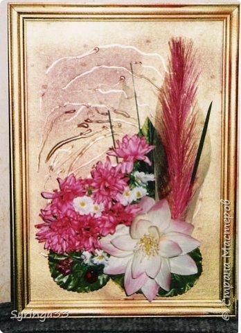 """Добрый день. Десять лет назад я закончила курсы флордизайна и первое время очень любила делать картины из искусственных цветов, бусин, ракушек. Сейчас творю в этой технике редко. Представляю свои любимые работы. Первая-""""Морская"""" фото 4"""
