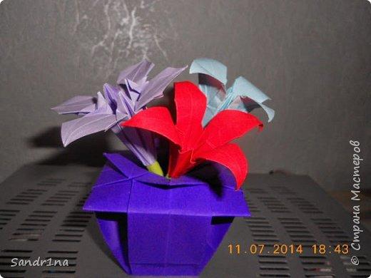 Оригами вазочки с цветами фото 7