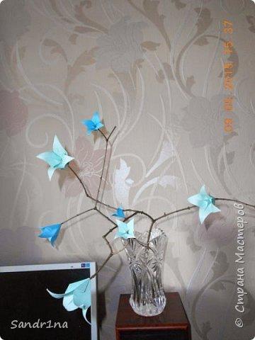 Ветка с колокольчиками оригами фото 2