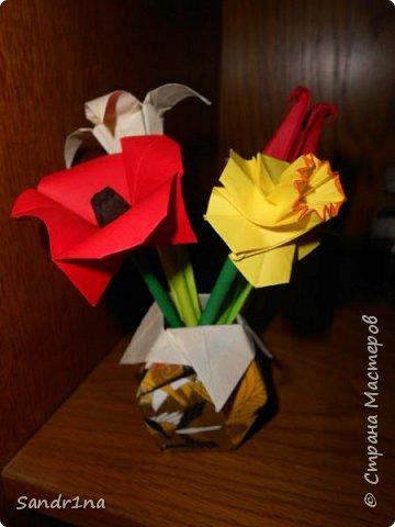 Оригами вазочки с цветами фото 1