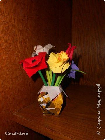 Оригами вазочки с цветами фото 2