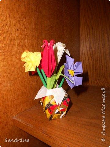 Оригами вазочки с цветами фото 3