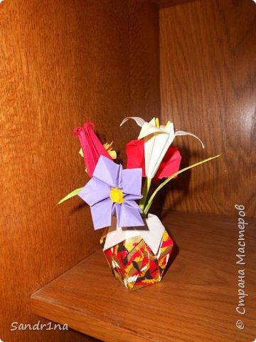 Оригами вазочки с цветами фото 4