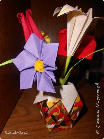 Оригами вазочки с цветами фото 6
