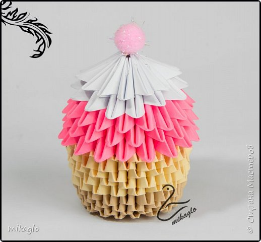 3d origami cupcake фото 4