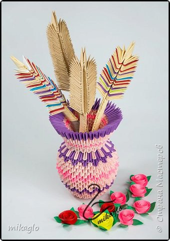 3d origami flower vase фото 3