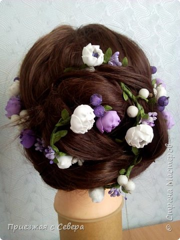 Первый раз делала проволоку с цветами для вплетения в волосы. Длина 1 метр фото 4