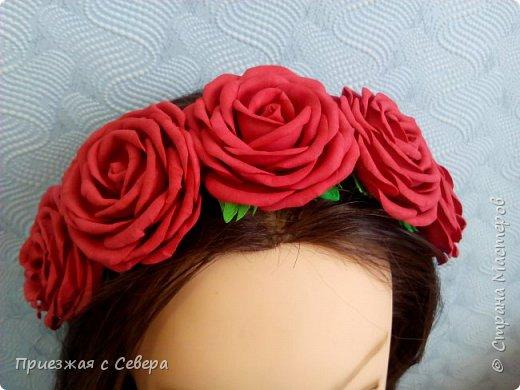 Ободок. 5 больших роз из фома фото 2