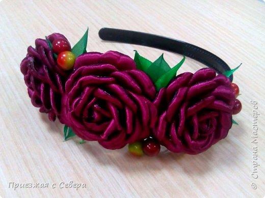 Розы из атласных лент фото 6