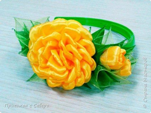 Розы из атласных лент фото 1