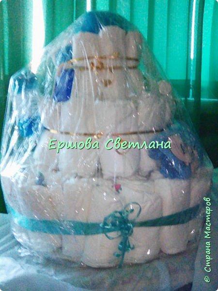 вот такой торт у меня получился, завернула в пищевую пленку, чтобы не попала пыль. фото 2