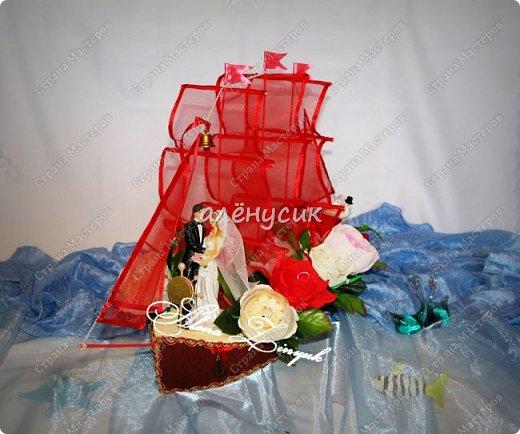 """Корабль """"Алые Паруса""""заказали кораблик на свадьбу))этому заказу я очень рада ведь кораблик этот у меня совсем первый в исполнении.Конечно я его мечтала давно сделать но выпал хороший повод сделать на свадьбу по заказу.))) фото 1"""