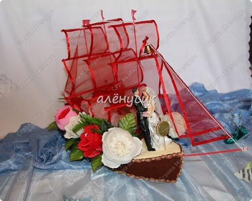 """Корабль """"Алые Паруса""""заказали кораблик на свадьбу))этому заказу я очень рада ведь кораблик этот у меня совсем первый в исполнении.Конечно я его мечтала давно сделать но выпал хороший повод сделать на свадьбу по заказу.))) фото 5"""
