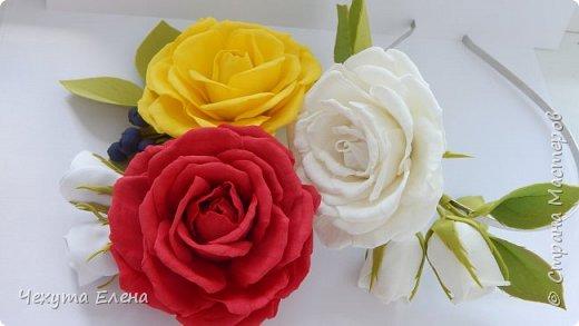 Пионовидные роза по МК Надежды Коноваловой. Спасибо ей огромное! Это резинка для волос.  фото 16