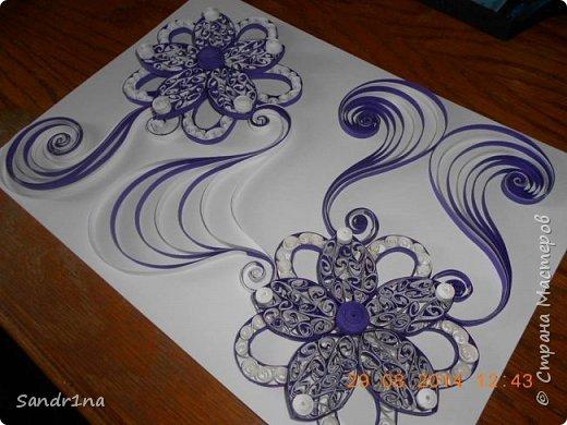 Квиллинг композиция с цветами фото 5