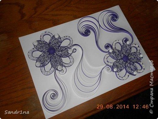 Квиллинг композиция с цветами фото 3