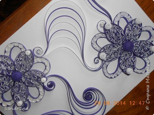 Квиллинг композиция с цветами фото 4