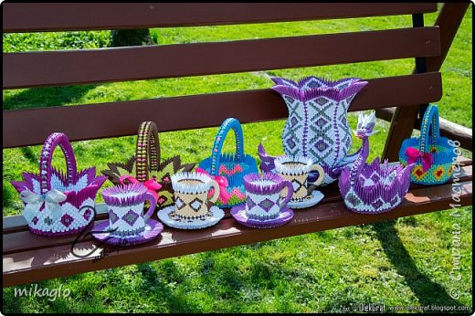 origami modular vase, tea cup, basket, dragon boat фото 1