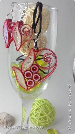 """Новое для меня направление в квиллинге - украшения: серьги и кулон """"сердце"""" фото 1"""