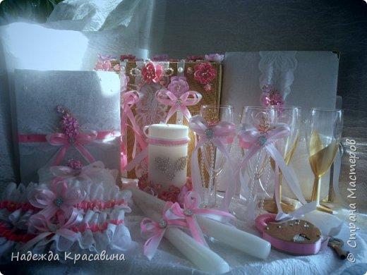 Всем привет! Хочу вам показать свою первую большую работу! Скоро состоится свадьба моей младшей сестренки и я решила сделать для нее такой наборчик. По заказу невесты все выполнено в розовом цвете. Ну а теперь все по отдельности... фото 32