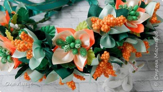 Веночек с цветами Канзаши фото 2