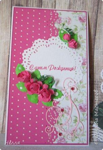 Очень понравились открытки Ирины Голубки, решила сделать такие  же . Спасибо, Ирочка ,за подробную информацию и показ , как делать фон из разной бумаги. Это просто идеальная идея  использования всей бумаги для оформления открытки. Использовала материал разный, пробовала новый дырокол. Впервые делала цветы из фомиана. фото 3