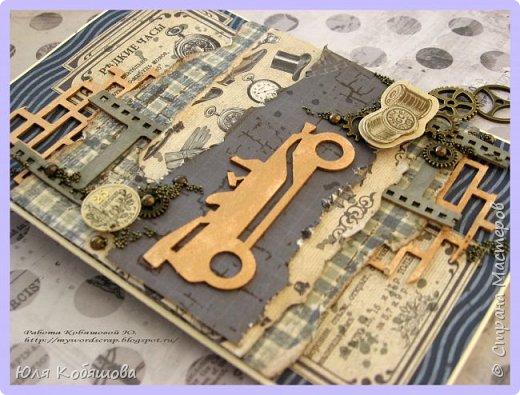 Хочу показать пару мужских открыток. Первая.  Использовала бумагу от Vintage design Старинные объявления, Клетка Виши голубая. Все слои приподняты, от чего открытка выглядит очень объемной. Так же использовала в работе чипборд, наклейки, шестеренки металлические, полубусинки и микробисер. фото 2