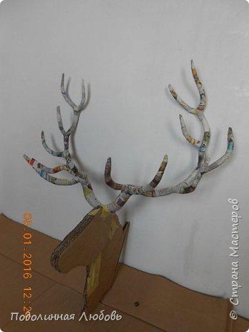 Моя давняя хотелка, и показательная работа в моем кружке. Голова оленя почти в натуральную величину. Высота модели 65 см, размах рогов - 62 см. фото 8